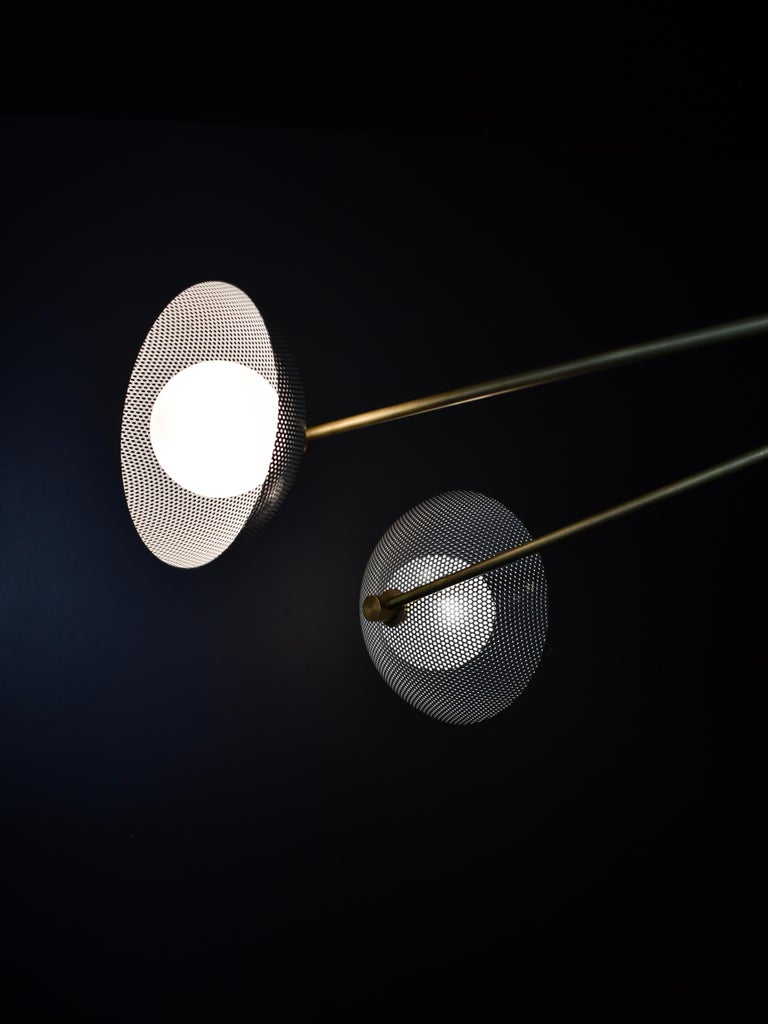 American Parallax Ceiling Fixture in Brass and Gray Enamel by Blueprint Lighting, 2020 For Sale