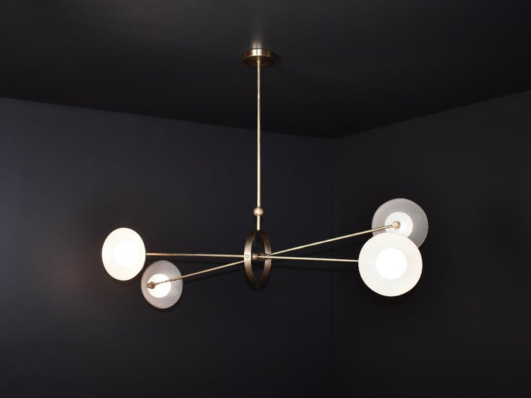Parallax Ceiling Fixture in Brass and Gray Enamel by Blueprint Lighting, 2020 In New Condition For Sale In New York, NY