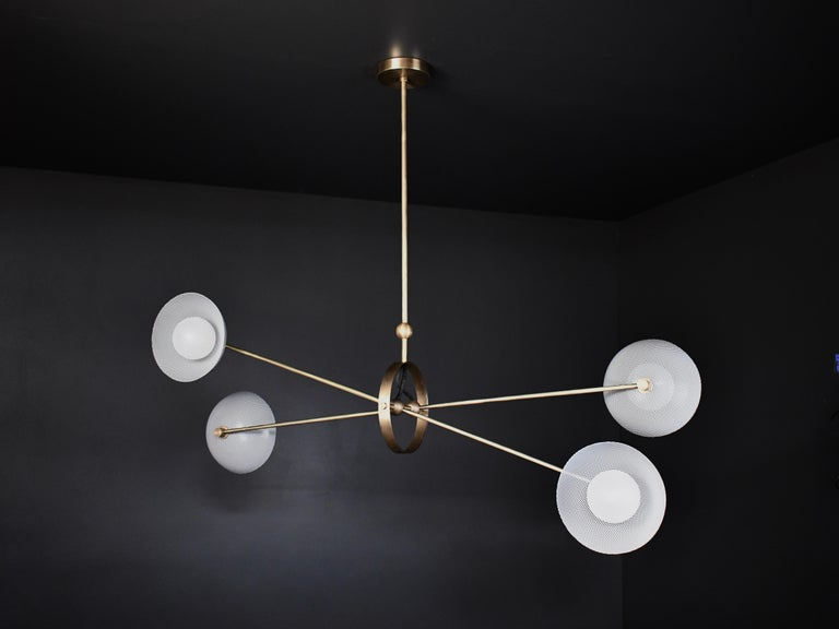 Contemporary Parallax Ceiling Fixture in Brass and Gray Enamel by Blueprint Lighting, 2020 For Sale