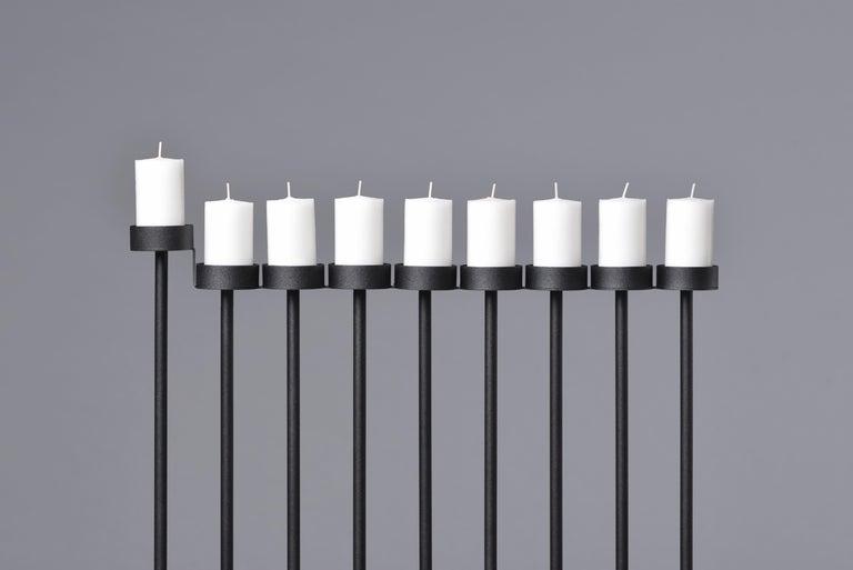 Modern PARALLEL candleholder 130сm, minimalistic Hanukkah menorah by Ivan Voitovych For Sale