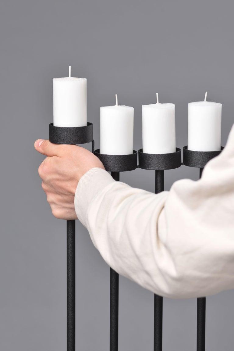 Powder-Coated PARALLEL candleholder 130сm, minimalistic Hanukkah menorah by Ivan Voitovych For Sale
