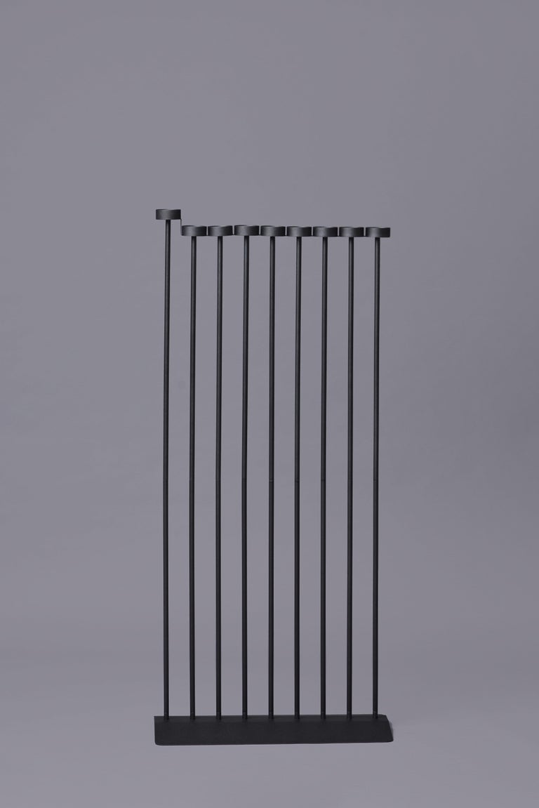 Steel PARALLEL candleholder 130сm, minimalistic Hanukkah menorah by Ivan Voitovych For Sale
