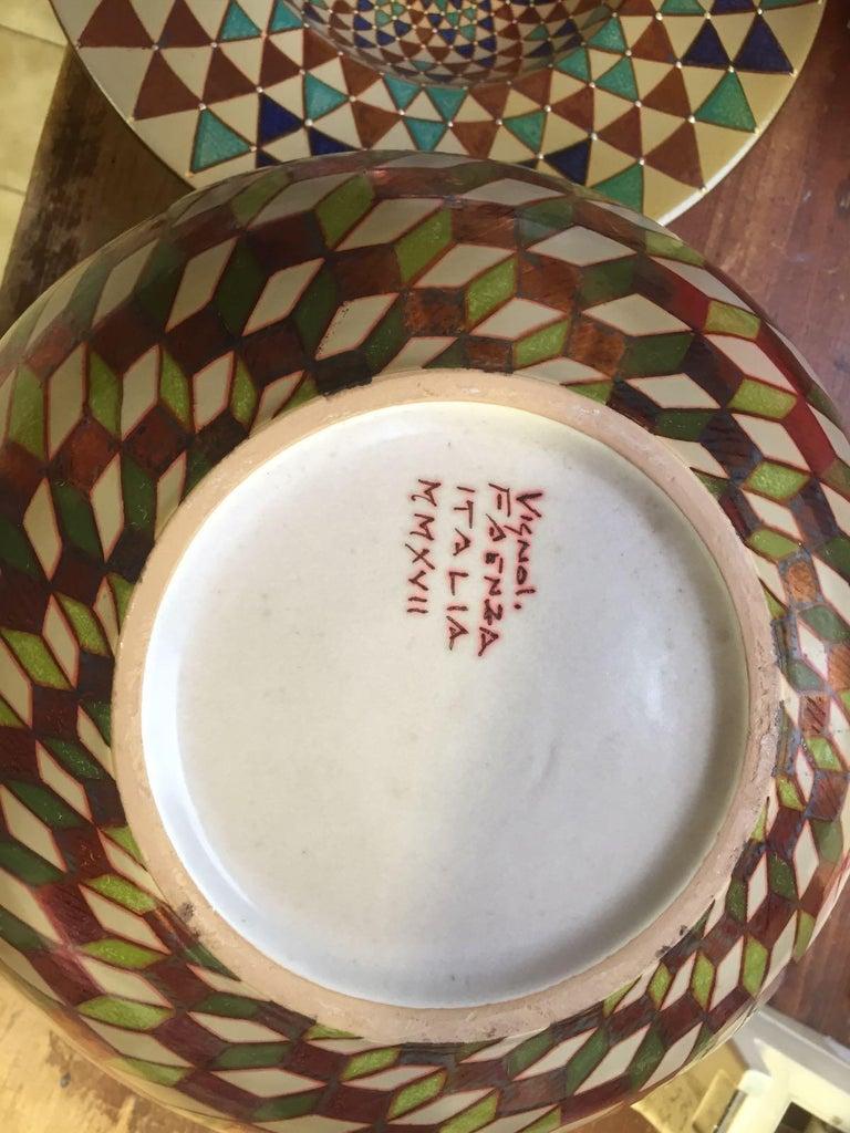 Contemporary Ceramic vase by Bottega Vignoli Hand Painted Glazed Earthenware Italian  For Sale
