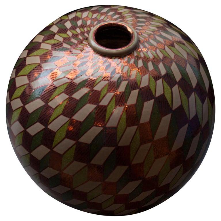 Ceramic vase by Bottega Vignoli Hand Painted Glazed Earthenware Italian  For Sale