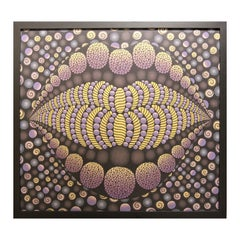 """""""Big Mouth / Emotions"""" Rich Gold and Purple Abstract Geometric Op Art Painting"""