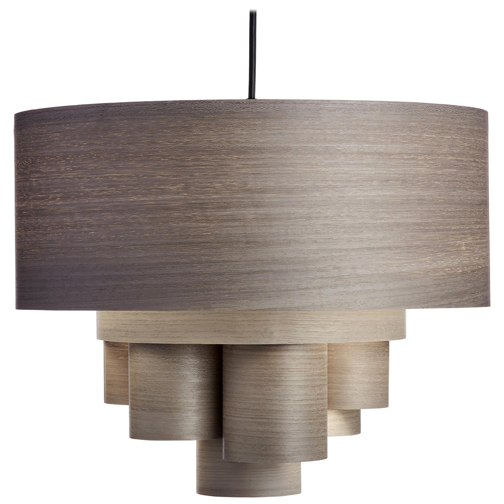 Mid-Century Modern gray wood veneer drum chandelier pendant