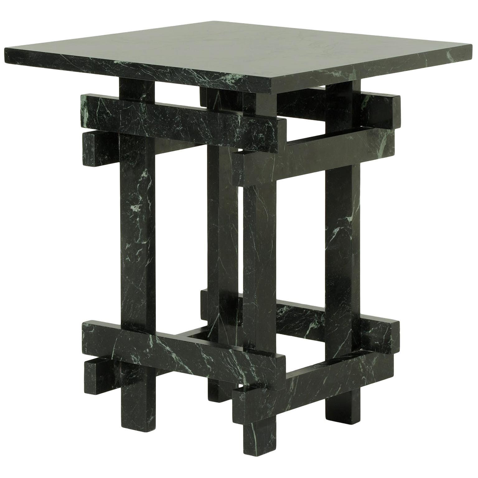 Paranoid N01, 21st Century Coffee Table in Dark Green Marble