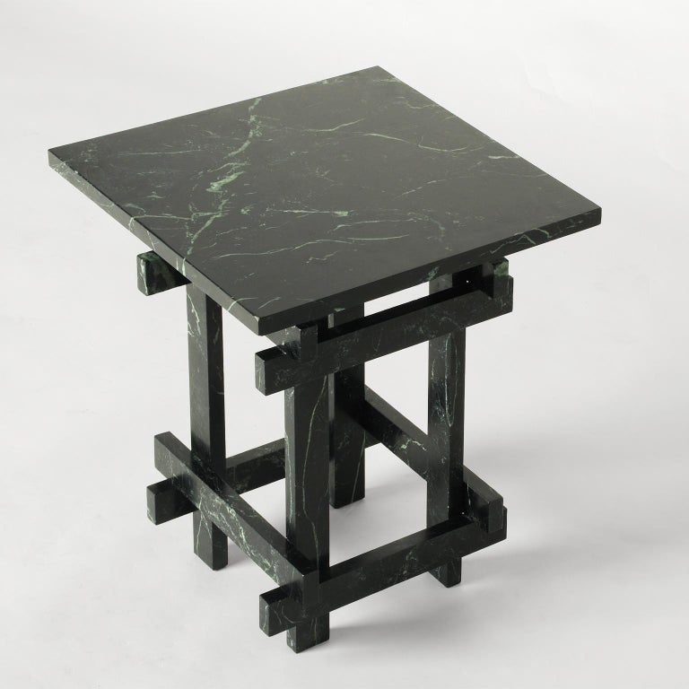 """Coffee table entirely made of """"Verde Alpi"""" green marble.   Every piece produced is signed and numbered. Customizable sizes and materials upon request."""