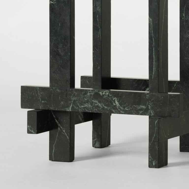 Italian Paranoid N01, 21st Century Coffee Table in Dark Green Marble For Sale