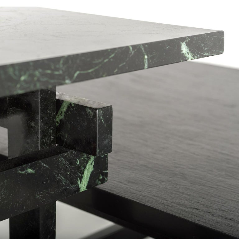 Contemporary Paranoid N01, 21st Century Coffee Table in Dark Green Marble For Sale