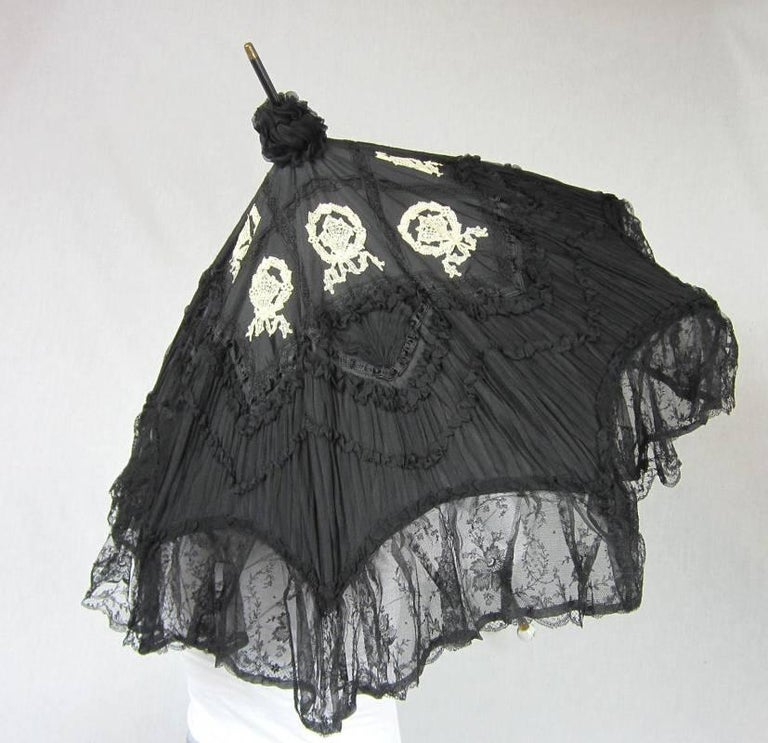 Black  Parasol Silk & Lace Heavily detailed Gold accent parasol circa 1900's Victorian For Sale