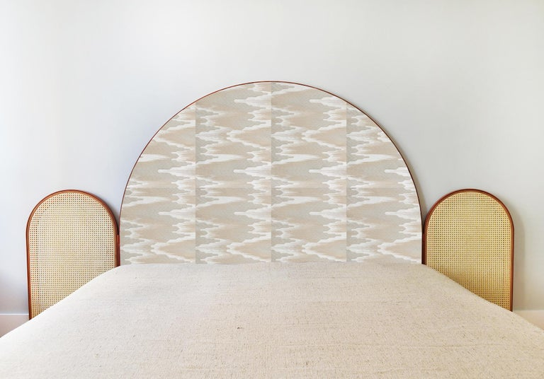 """""""Paravent Ideal"""" is a handcrafted, screen headboard made by artisans in Turkey, preserving and sustaining traditional Turkish handcrafts. The central large arc is upholstered in Dedar fabric Fandango, which comes in blue, yellow and purple colors."""