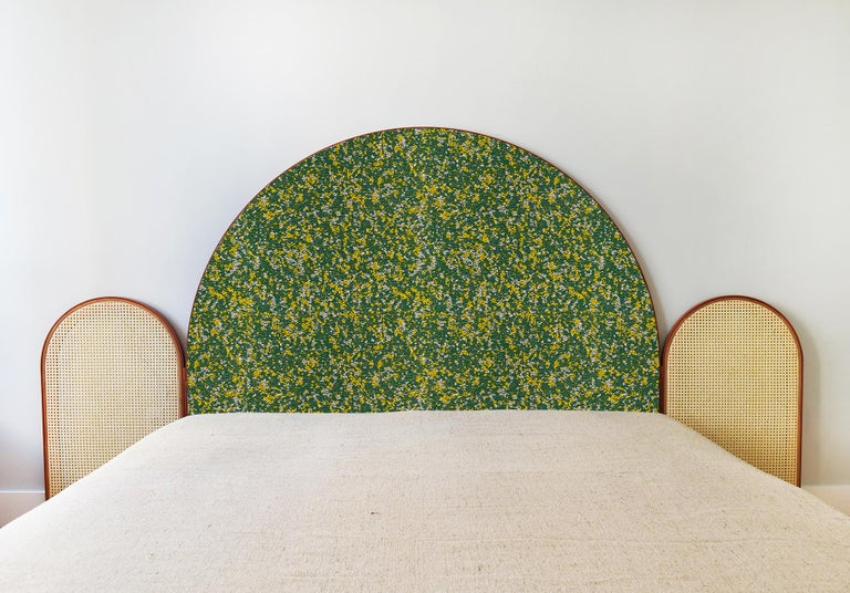 """""""Paravent Ideal"""" is a handcrafted, screen headboard made by artisans in Turkey, preserving and sustaining traditional Turkish handcrafts. The central large arc is upholstered in Kvadrat fabric Atom, which comes in beige, green and purple colors. The"""