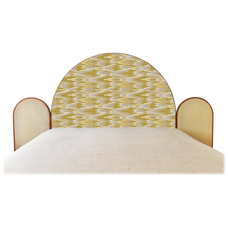 Paravent Ideal Upholstered Bed Headframe with Caning and Brick Colored Metal For Sale