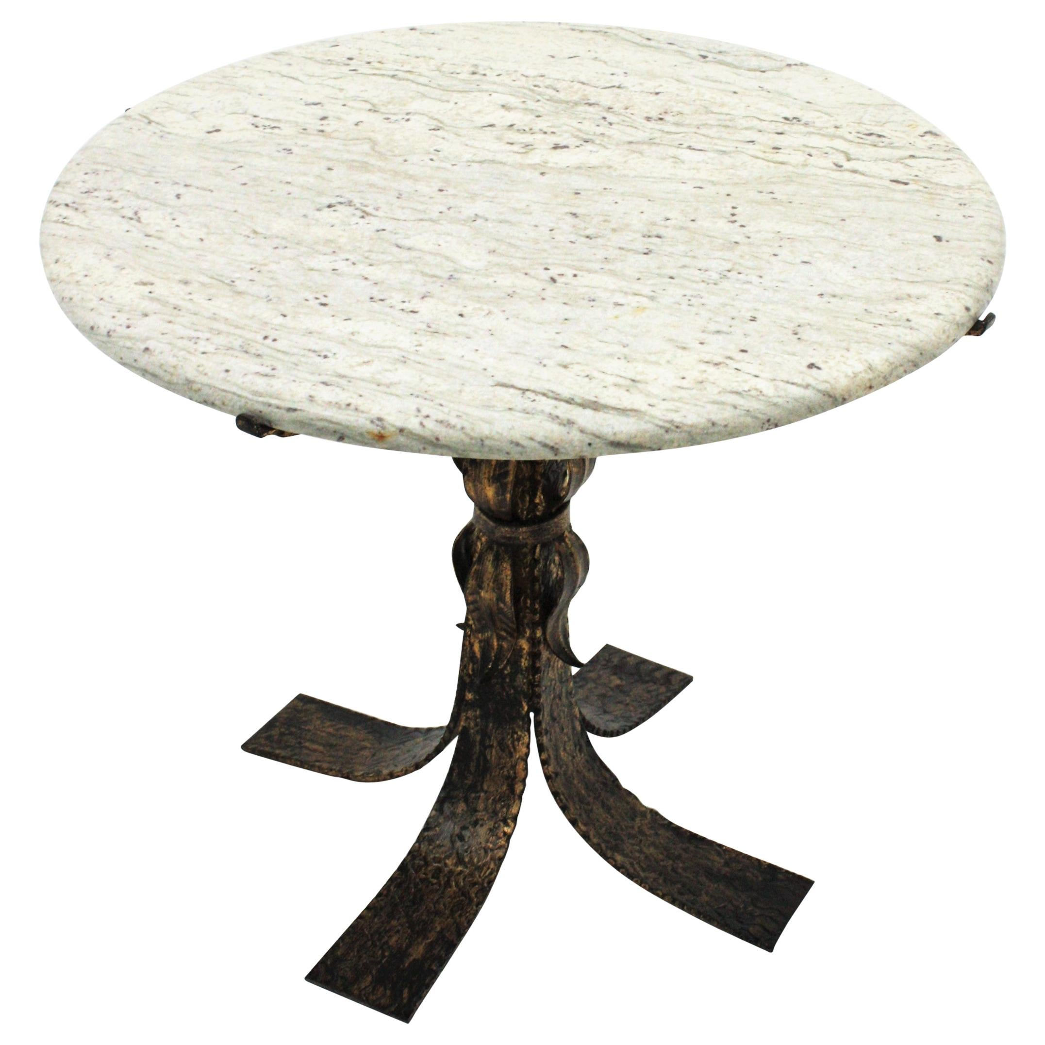 Parcel-Gilt Iron Round Coffee Table with White Marble Top