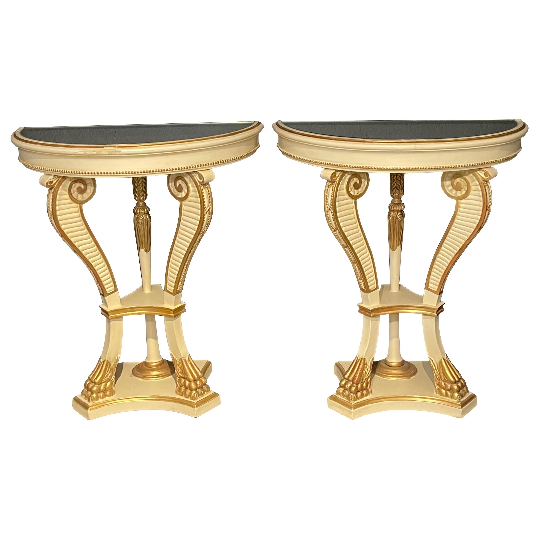 Parcel-Gilt Painted Demilune Console Tables, a Pair, Neoclassical