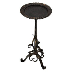 Parcel-Gilt Wrought Iron Eyelash Motif Drinks Table Guéridon or Side Table