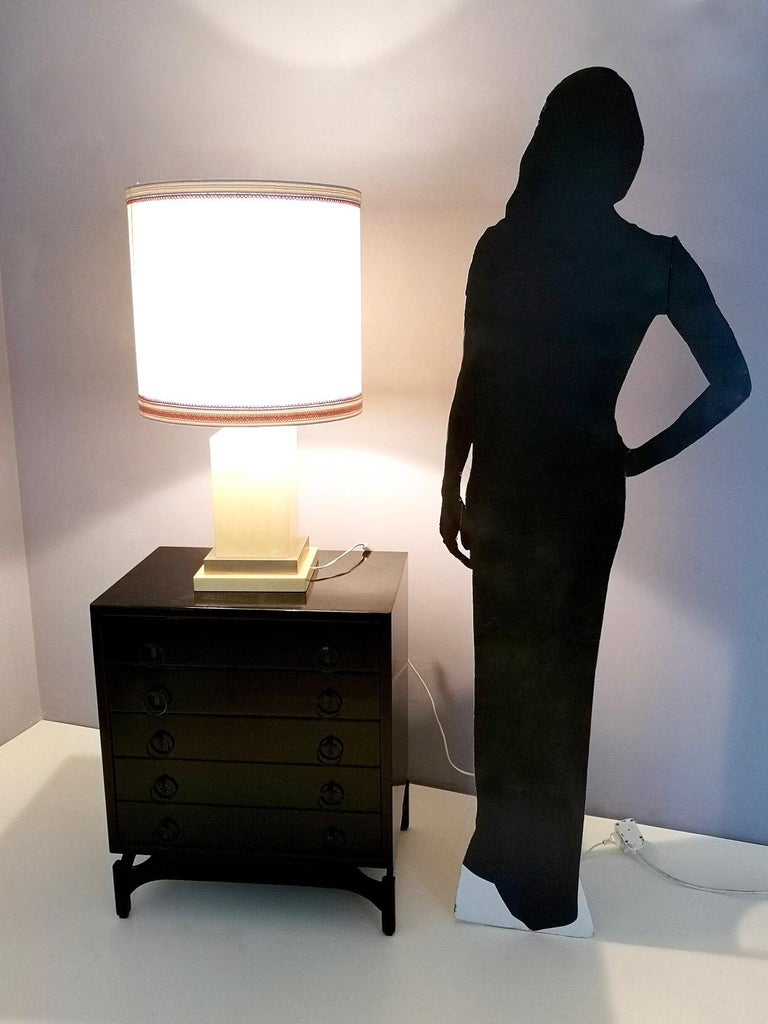 Italian Parchment and Brass Table Lamp by Aldo Tura, Italy 1960s-1970s For Sale