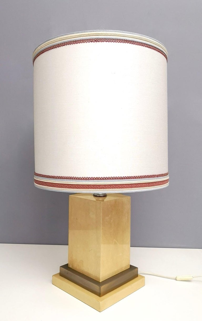 Mid-20th Century Parchment and Brass Table Lamp by Aldo Tura, Italy 1960s-1970s For Sale