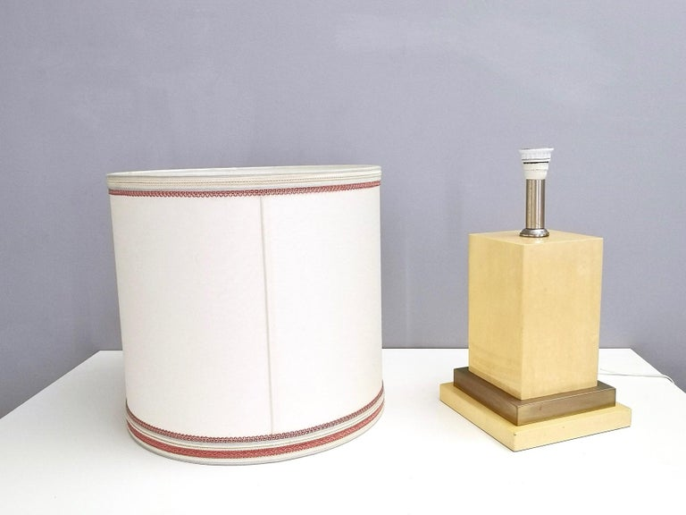 Fabric Parchment and Brass Table Lamp by Aldo Tura, Italy 1960s-1970s For Sale