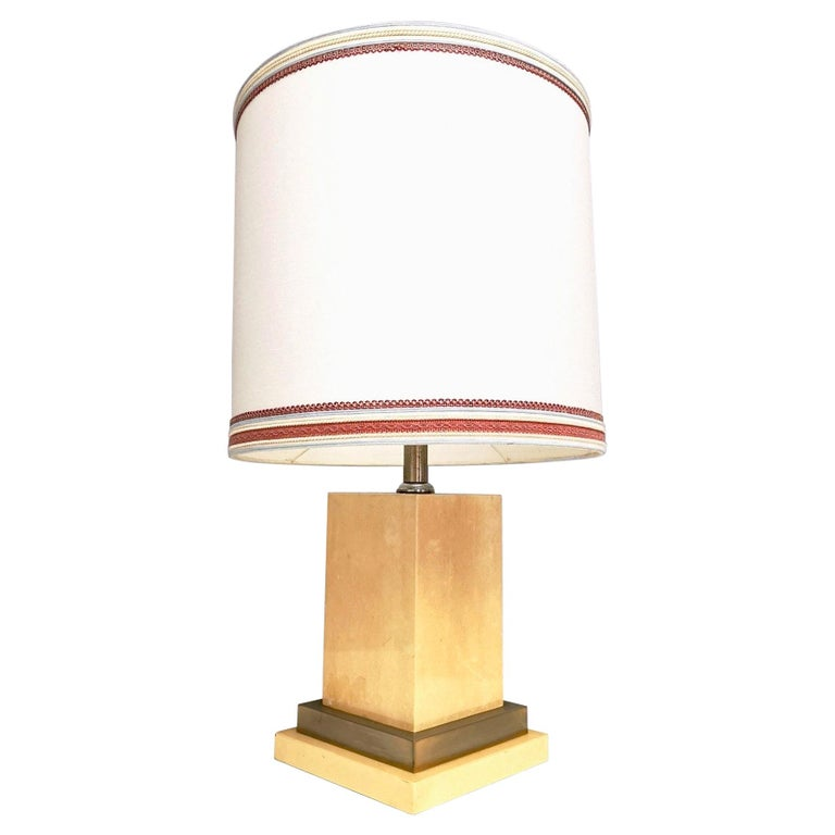 Parchment and Brass Table Lamp by Aldo Tura, Italy 1960s-1970s For Sale