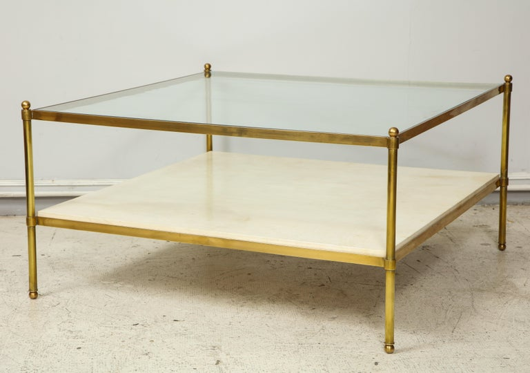 Modern  Parchment and Bronze Coffee Table with Glass Top For Sale