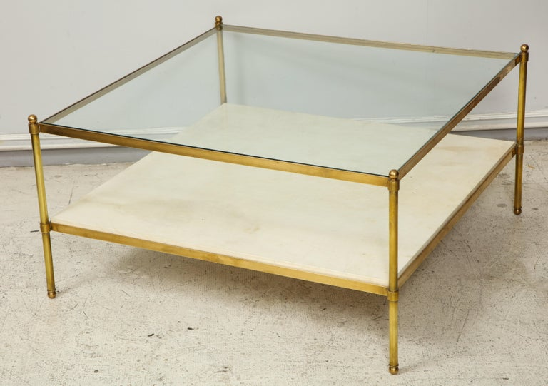 French  Parchment and Bronze Coffee Table with Glass Top For Sale