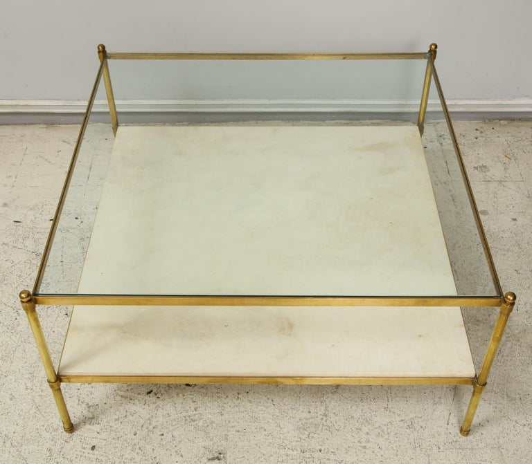 Parchment and Bronze Coffee Table with Glass Top In Good Condition For Sale In New York, NY