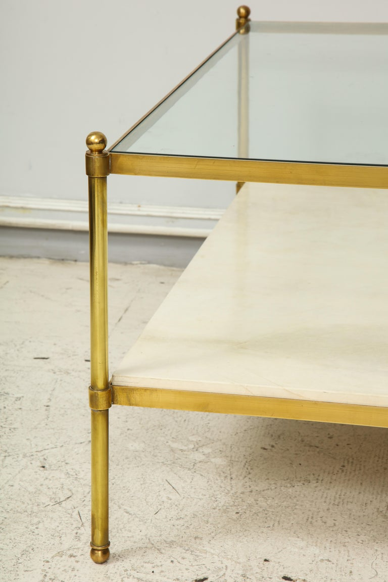 20th Century  Parchment and Bronze Coffee Table with Glass Top For Sale