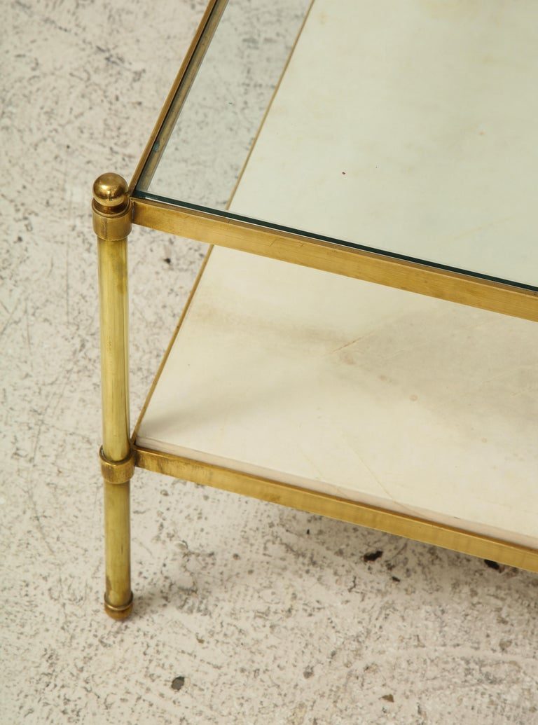 Parchment and Bronze Coffee Table with Glass Top For Sale 1