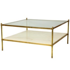 Parchment and Bronze Coffee Table with Glass Top