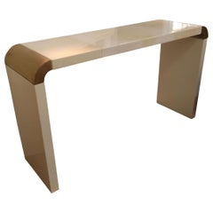 Parchment and Lacquered Wood Italian Midcentury Console, Italy, 1970