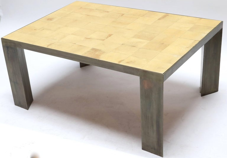Argentine Parchment and Metal Coffee Table For Sale