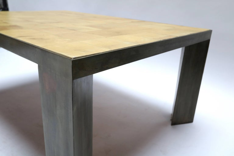 Parchment and Metal Coffee Table In Good Condition For Sale In Los Angeles, CA