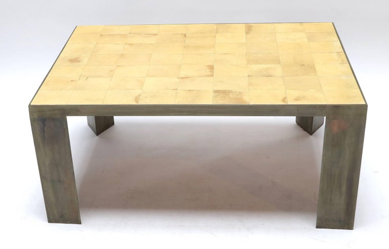 Contemporary Parchment and Metal Coffee Table For Sale