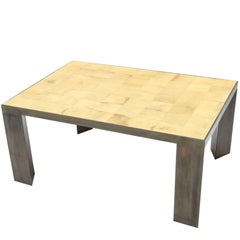 Parchment and Metal Coffee Table