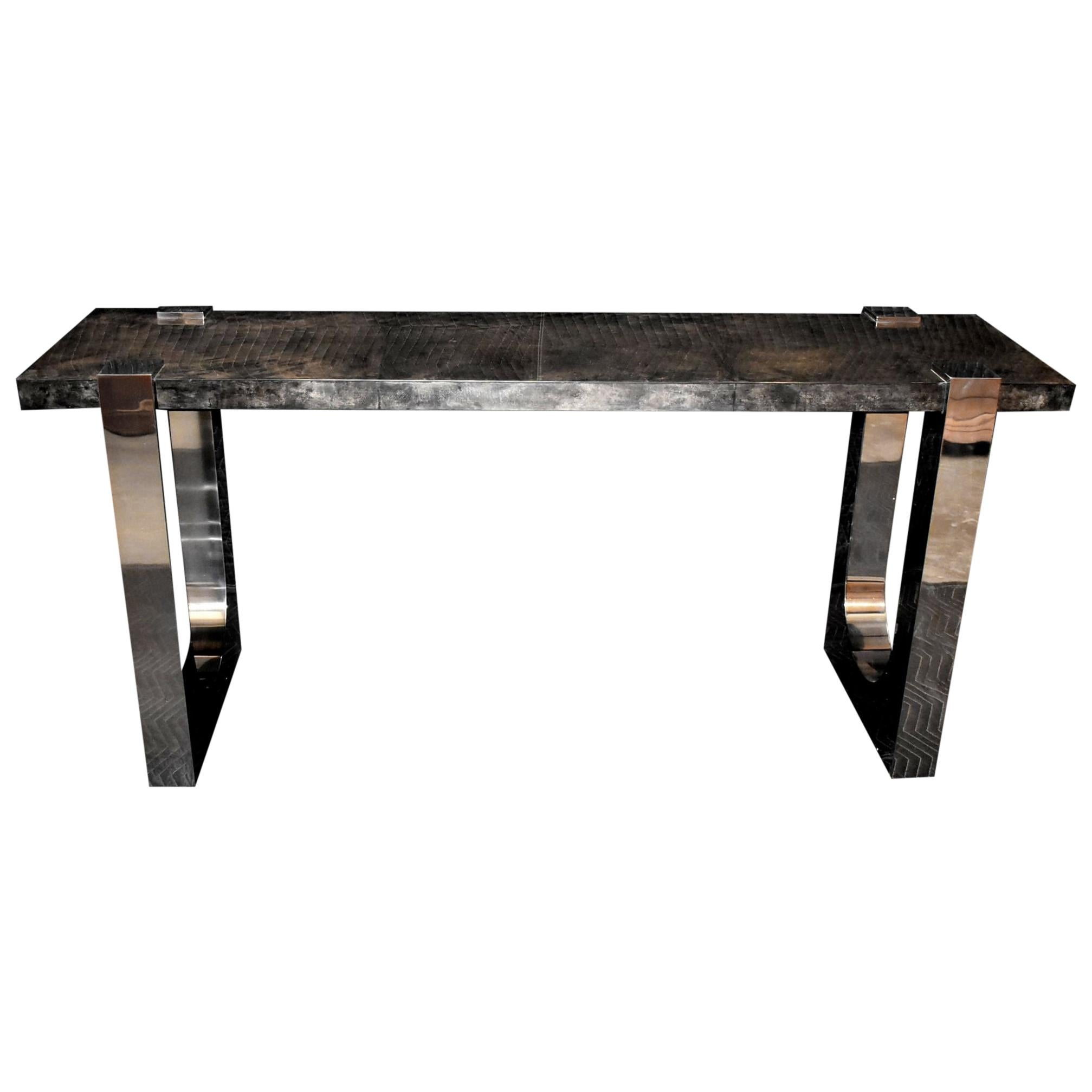 """Parchment and Stainless Steel """"U"""" Design Console Table"""