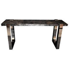 "Parchment and Stainless Steel ""U"" Design Console Table"