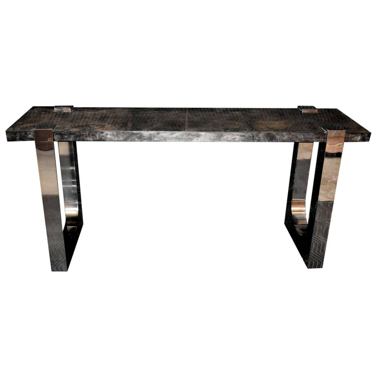 """Parchment and Stainless Steel """"U"""" Design Console Table For Sale"""