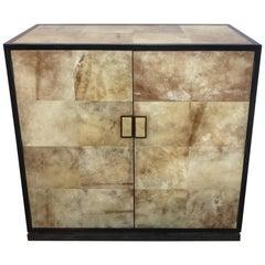 Parchment, Bronze and Ebonized Wood Cabinet after Jean-Michel Frank