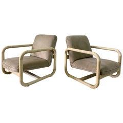 Parchment Clad Low Lounge Chairs, Pair