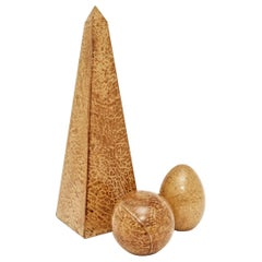 Parchment Clad Obelisk Egg and Sphere Sculptures