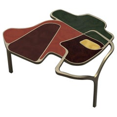 Parchment Cocteau Coffee Table with Brass Accents by R & Y Augousti