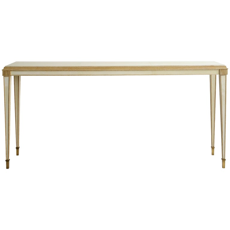 Parchment console in beached oak, parchment and brass