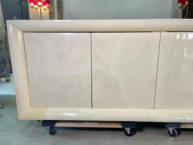 Parchment Lacquered Sideboard For Sale 3