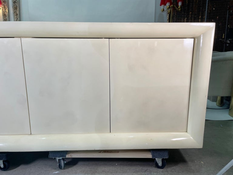 Parchment Lacquered Sideboard For Sale 4