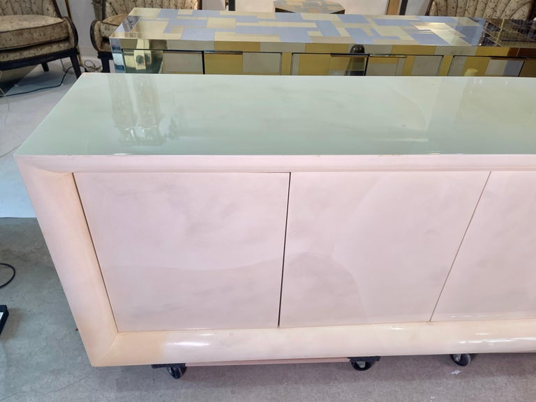 Parchment Lacquered Sideboard For Sale 5