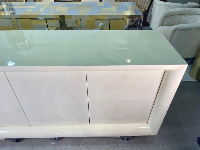 Parchment Lacquered Sideboard For Sale 6