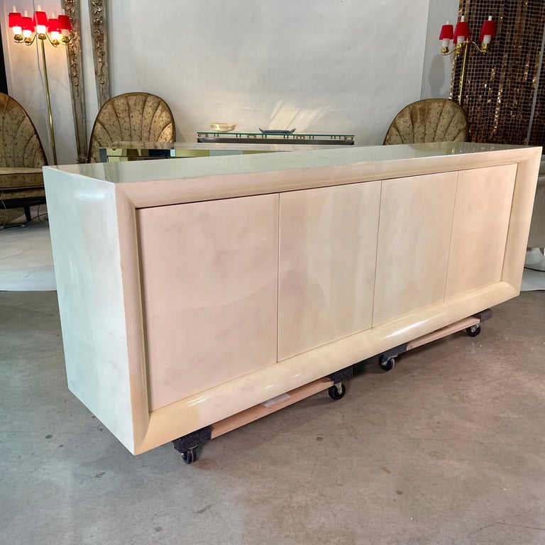 Parchment Lacquered Sideboard For Sale 9
