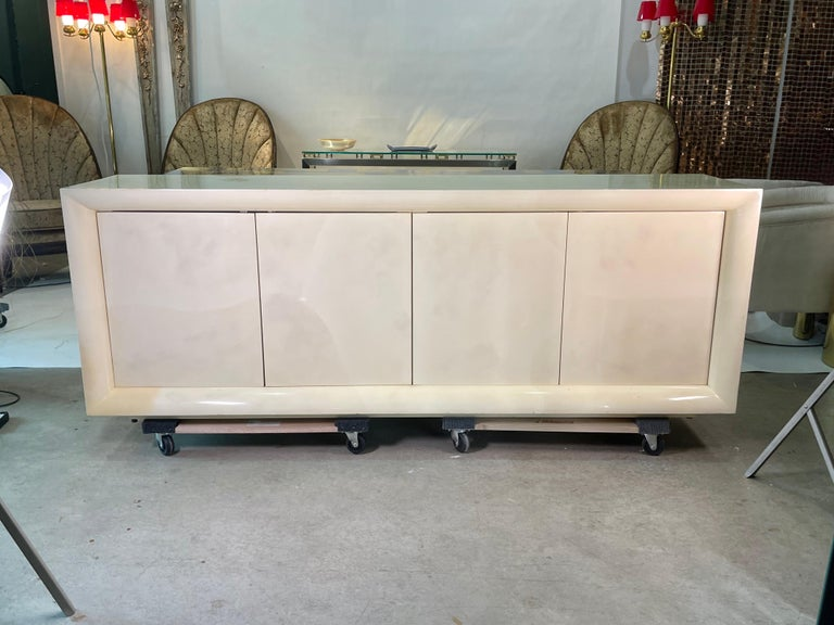 Mid-Century Modern Parchment Lacquered Sideboard For Sale